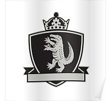 Gator Standing Side Coat of Arms Crest Retro Poster