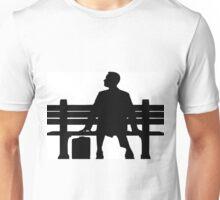 Forrest Gump Silhouette sitting on Bench Unisex T-Shirt