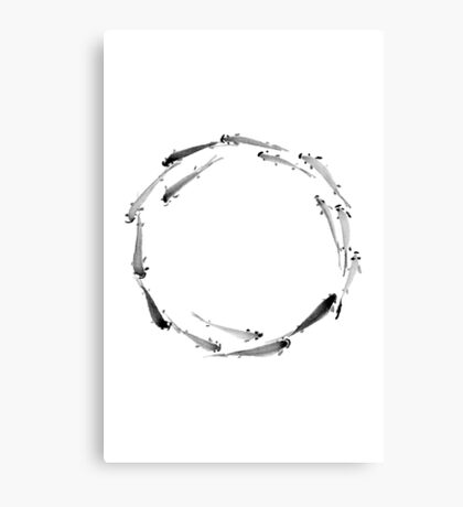 Sumi ink fishes enso Canvas Print