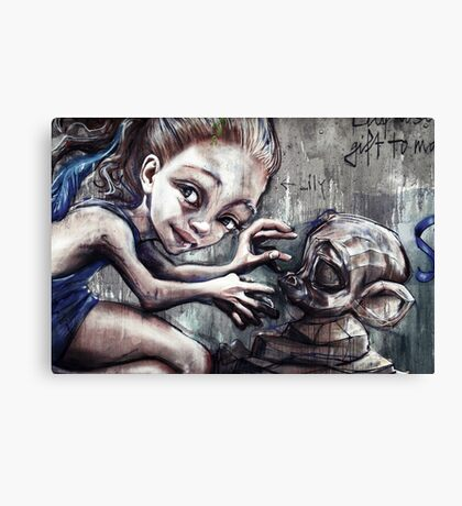 Modelling her monkey Canvas Print