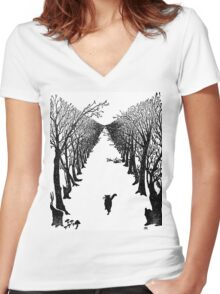 The Cat Who Walks By Himself Women's Fitted V-Neck T-Shirt