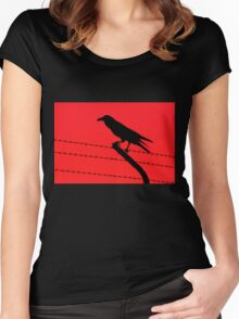 Barbed Wire Crow Women's Fitted Scoop T-Shirt