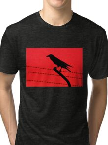 Barbed Wire Crow Tri-blend T-Shirt