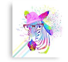 Funky neon zebra Canvas Print