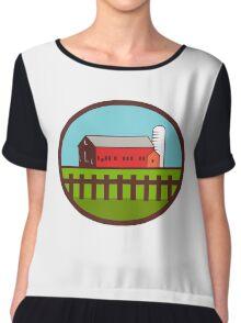 Farm Barn House Silo Oval Retro Chiffon Top