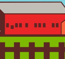 Farm Barn House Silo Oval Retro Sticker