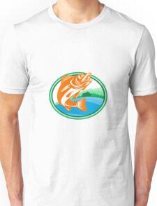 Walleye Fish Lake Cabin Oval Retro Unisex T-Shirt