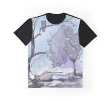 Full moon and a Spotted Eagle Owl Graphic T-Shirt