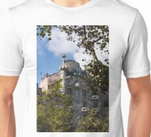 Antoni Gaudi's Casa Batllo Through Sycamore Trees Unisex T-Shirt