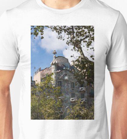 Antoni Gaudi's Casa Batllo Through Sycamore Trees Unisex T-Shirt