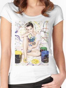Miley Cyrus – Elle UK Magazine PhotoShoot Women's Fitted Scoop T-Shirt