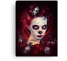 Sugar Doll Red Dia De Muertos Canvas Print