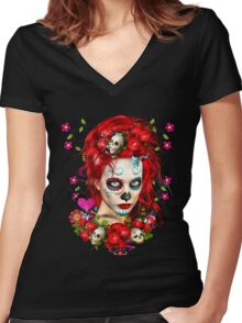Sugar Doll Red Dia De Muertos Women's Fitted V-Neck T-Shirt