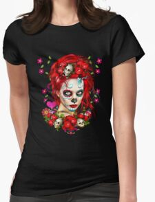 Sugar Doll Red Dia De Muertos Womens Fitted T-Shirt