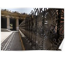 Shadow Play - a Whimsical Wrought Iron Fence by Antoni Gaudi - Park Guell, Barcelona Poster