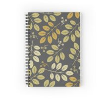 Decorative spring flowers and leaves on grey background Spiral Notebook