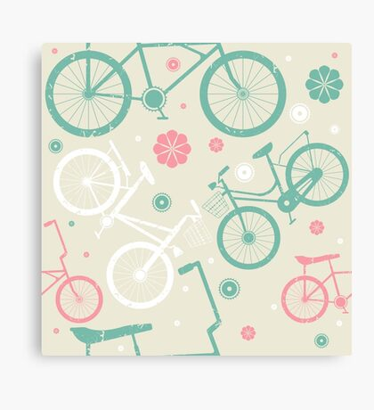 Cute pattern with retro bicycles and flowers Canvas Print