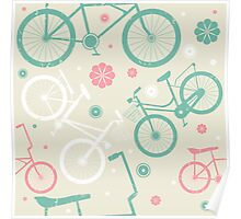 Cute pattern with retro bicycles and flowers Poster