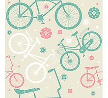 Cute pattern with retro bicycles and flowers Photographic Print