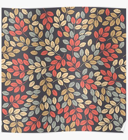 Pattern with autumn leaves Poster