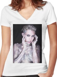 Miley Cyrus By Photographer Rankin Women's Fitted V-Neck T-Shirt