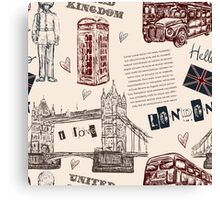 Seamless pattern with London landmark symbols. Canvas Print
