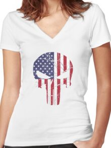 Punisher Women's Fitted V-Neck T-Shirt