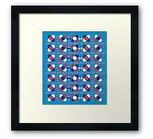 retro pattern in light blue background Framed Print