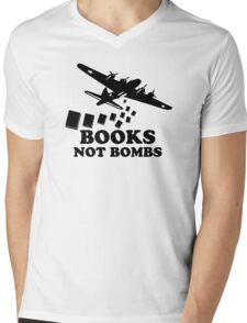 Funny Books Not Bombs Mens V-Neck T-Shirt