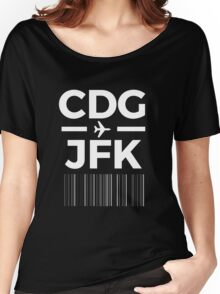 Paris New York Charles de gaulle to JFK New York Airport Code Design Women's Relaxed Fit T-Shirt