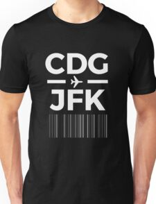 Paris New York Charles de gaulle to JFK New York Airport Code Design Unisex T-Shirt