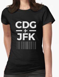 Paris New York Charles de gaulle to JFK New York Airport Code Design Womens Fitted T-Shirt