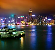 Big City Lights in Hong Kong by Delfino