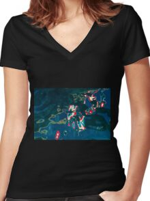 PR Flag Water Abstract Women's Fitted V-Neck T-Shirt