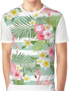 Tropical Flamingo Summer Time Design Graphic T-Shirt