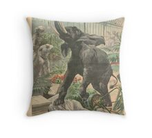 Elephant rampage Crystal Palace London 1900 Throw Pillow