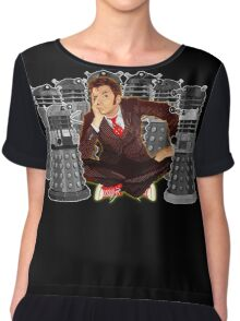 Time traveller captured by mini droid robot Chiffon Top