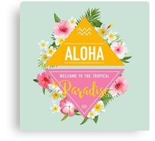 Tropical Paradise Design with Flowers Canvas Print