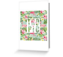 Tropical Paradise Design with Flamingo Greeting Card