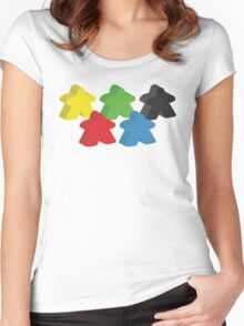 Set of 5 meeples (Board game tokens) Women's Fitted Scoop T-Shirt