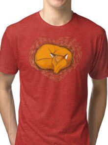 LOVE HEART fox sleeping Tri-blend T-Shirt