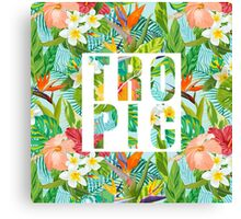 Tropical Design with Exotic Flowers Canvas Print