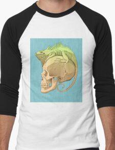 colorful illustration with iguana and skull Men's Baseball ¾ T-Shirt