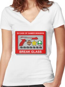 In case of Gamer Invasion Women's Fitted V-Neck T-Shirt