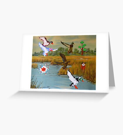 Flock of 8 bits Greeting Card