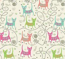 Cute Cartoon Style, Cats  Pattern by artonwear