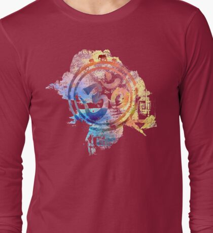 colorful ohm elephant logo Long Sleeve T-Shirt