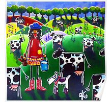 Moo Cow Farm Dog Hills Trees Flowers Milk Milking Girl Cowboy Boots Hat Country  Poster