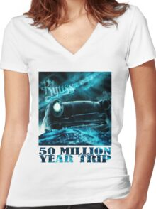50 Million Year Trip Women's Fitted V-Neck T-Shirt