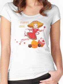 Cute cartoon fairy Women's Fitted Scoop T-Shirt